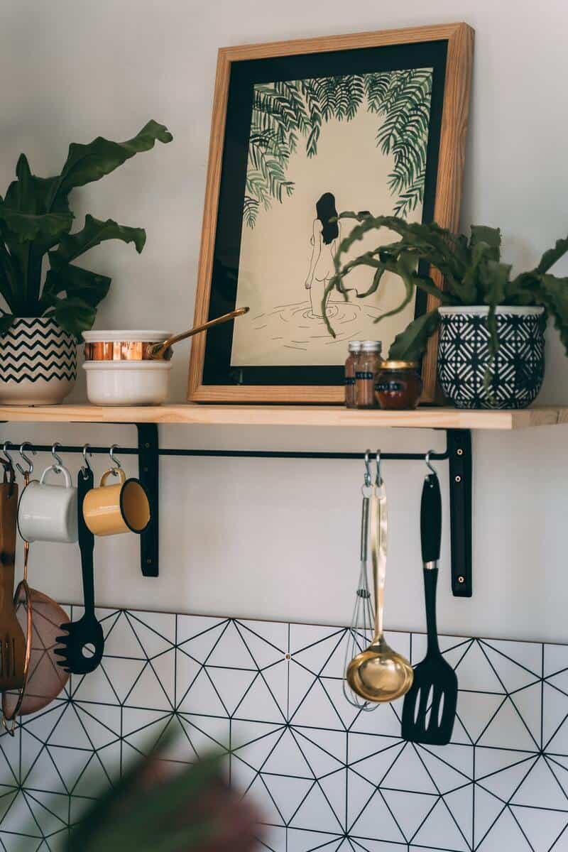 A small kitchen shelf