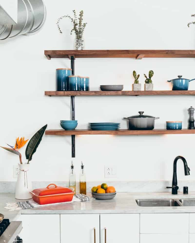 Practical kitchen shelves