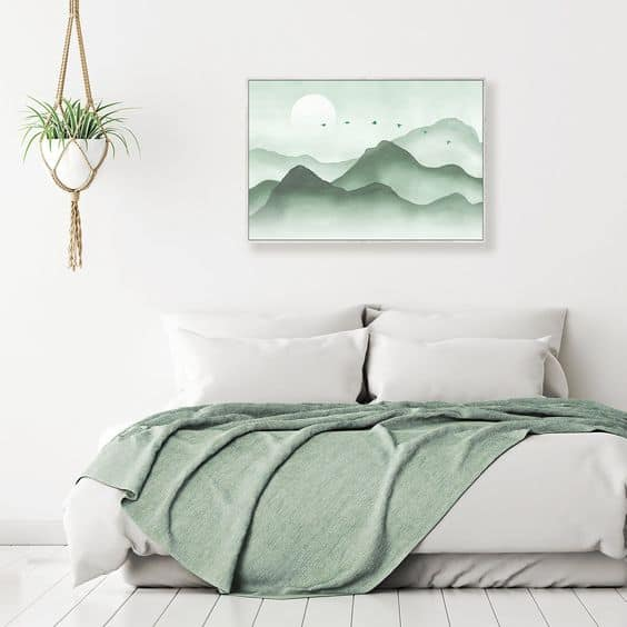 Relaxing colors in the bedroom