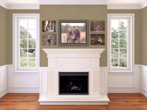 A set of family photos above the fireplace